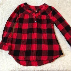 Flannel popover shirt.